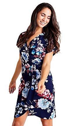 Mela London - Navy floral print v-neck wrap dress 53eeeb8d7e