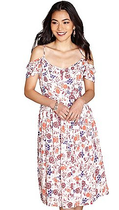 Yumi dresses women debenhams yumi ivory cold shoulder mazie swirled flower dress mightylinksfo