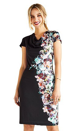 6473033d39 Yumi - Black botanical cowl neck 'Arlete' dress