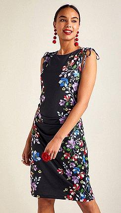 Yumi - Black floral border sleeveless bodycon dress 0197bc080