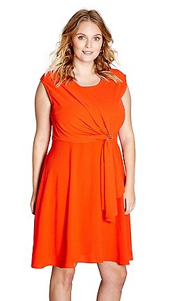 d6b9e47676 Yumi Curves - Red  Meera  sleeveless skater dress