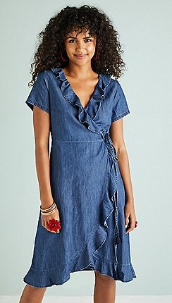 01a4a657b2c Yumi - Blue frill wrap denim dress