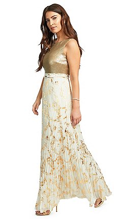 5ea6e7f8643ff Ariella London - Gold 'Leia' sequin bodice pleated maxi dress