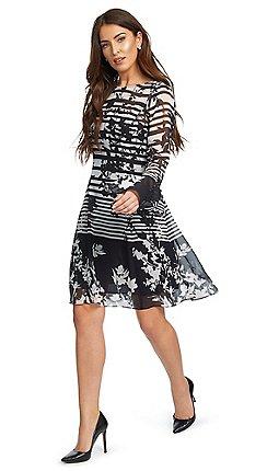 8e18e6991f5 Ariella London - Black and white  Cassia  floral stripe print shift dress