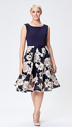 aa70e6f0150e Ariella London - Navy 'Ashani' tapework knee length dress