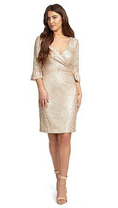 Ariella London Pink Jordyn Sequin Lace Wrap Pencil Dress