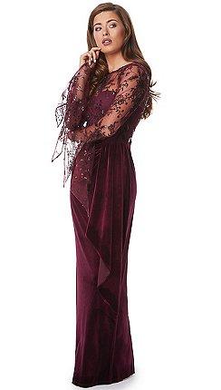 Ariella London - Burgundy  Ivona  embroided bodice and velvet maxi dress 61dd5a2cd