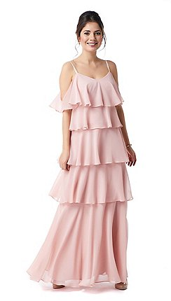 a998f45021 Ariella London - Pink  Alma  Multi Layer Chiffon Maxi Dress