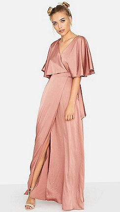 S On Film Pink Les Nuits Satin Wrap Dress
