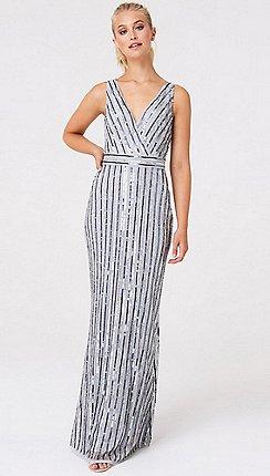 Little Mistress Grey Luxury Evalina Embellished Striped Sequin Maxi Dress
