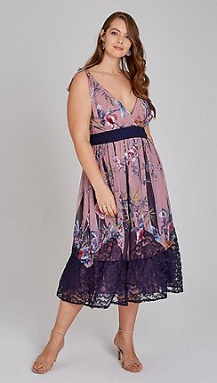 14bfea3f641d0 Little Mistress - Multicoloured Everly Floral Midi Tea Dress