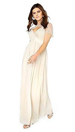 131412b473 Little Mistress - Beige cape maxi dress