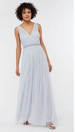 Monsoon Blue Elyse Embellished Waist Dress