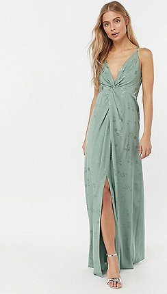 ce077c10ff Monsoon - Green 'Karlie' knot front jacquard dress