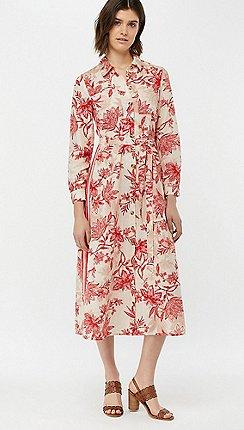 0874b795f2 Monsoon - Cream  Alysa  Print Linen Shirt Dress