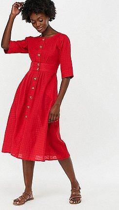 d13a60f299 Monsoon - Red  Etna  Cotton Midi Dress