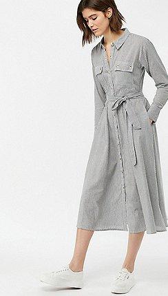 3deb6a6f45 Monsoon - Black  Bronte  Stripe Belted Midi Dress