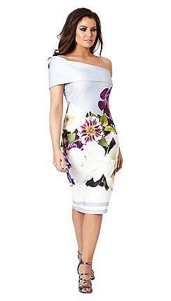 7a0df3993039 Sistaglam Love Jessica - Multicolour 'Aileen' floral off the shoulder  bodycon dress