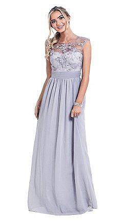 Sistaglam Silver Beverley Lace Bridesmaid Maxi Dress