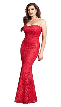 7dccc636bc Sistaglam Love Jessica - Red  Arizona  lace fishtail bandeau all over maxi  dress