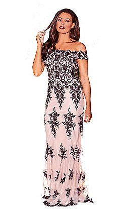3a59988cf6 Jessica Wright for Sistaglam - Nude  Paola  vip sequin embroidered mesh  bardot maxi dress