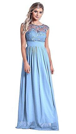 Sistaglam Powder Blue Beverley Lace Bridesmaid Maxi Dress