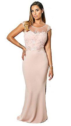 8cf4ebea55 Sistaglam - Blush 'sadia' embroided and beaded maxi dress