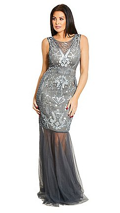 Sistaglam Love Jessica Silver Lydia Sequin Sheer Maxi Dress