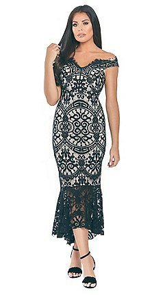 4ce4fa7d702040 Sistaglam Love Jessica - Black  Cianna  with contrast lining and fishtail  frill hem bardot