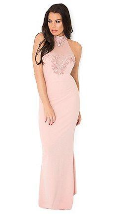 0b9e9c9abb Sistaglam Love Jessica - Nude 'aurelia' vip embellished mesh lace trim  halterneck maxi dress