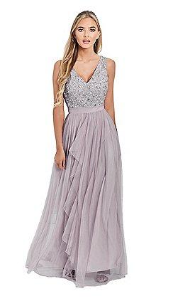 Sistaglam Lilac Sequin Yasmin V Neck Detailed Top Tiered Bridesmaid Dress