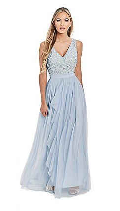 Sistaglam Blue Sequin Yasmin V Neck Detailed Top Tiered Bridesmaid Dress