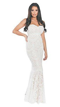 4b6d2561ee Sistaglam Love Jessica - Cream nude 'Livy' bandeau all over lace maxi dress
