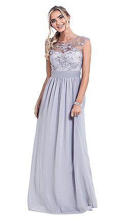 9faafc99cdc Sistaglam - Petite silver  Beverley  lace bridesmaid maxi dress