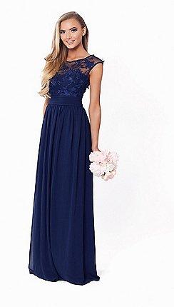 481144fbd5a Sistaglam - Petite navy  Beverley  lace bridesmaid maxi dress