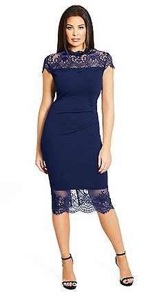 4a50f629e45 Sistaglam Love Jessica - Navy  Madelyn  panel lace trim dress with eyelash  hem