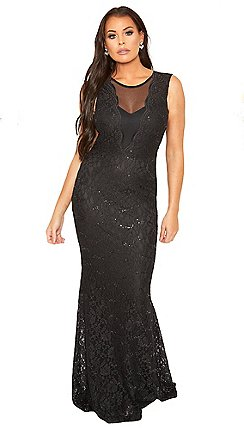 ed7ffb6da5da3a Sistaglam Love Jessica - black  Verena  mesh panel maxi sequin lace dress  with fish