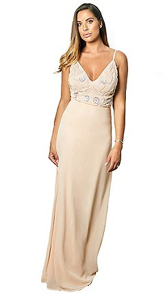 923b7de0ec Sistaglam - Nude 'Janicey' strappy embroidered bodace maxi dress