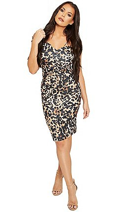 c986cb8941a5 Sistaglam Love Jessica - Multi 'Sassi' bardot animal bodycon dress with  waist rouching