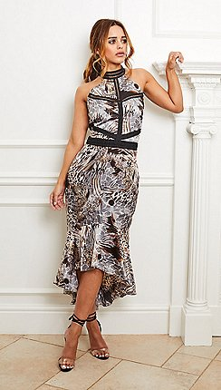 0e86f3e060d Sistaglam - Multi  aurora  satin animal print dress with halter neck and  trims