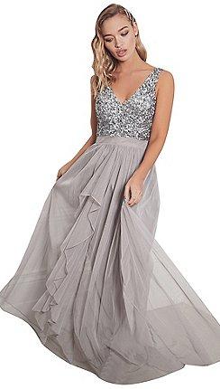 sistaglam grey yasmin sleeveless embroided bodice chiffon maxi dress