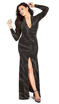 c2f0922fa1b4c Sistaglam Love Jessica - Black 'Aurora' plunge neck ruched glitter lurex maxi  dress with