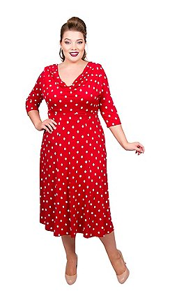 67ee9428a7e Scarlett   Jo - Red viscose midi length plus size fit and flare dress