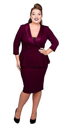 bc850f2ef31 Scarlett   Jo - Maroon jersey crepe midi length plus size peplum dress