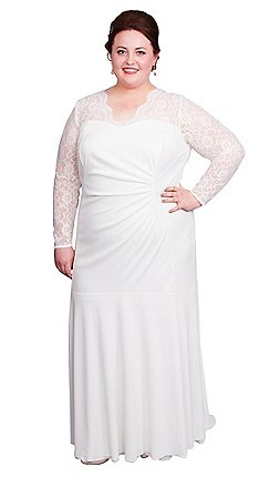 Scarlett Jo Ivory Plus Size Bridal Lace Neck Dress