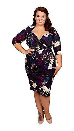 ff3874e0bee Scarlett   Jo - Autumn bloom print plus size twist skirt bodycon dress