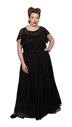 10a1cc51b0f Scarlett   Jo - Black chiffon mesh full length plus size maxi dress