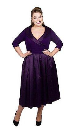 Scarlett Jo Purple Satin Midi Length Plus Size Smart Dress