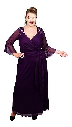 b09931032e4 Scarlett   Jo - Dark purple polyester full length plus size maxi dress