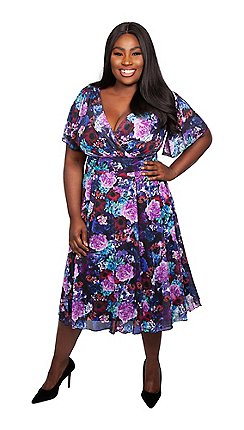e51a10af741 Scarlett   Jo - Multicoloured polyester midi length plus size floral dress
